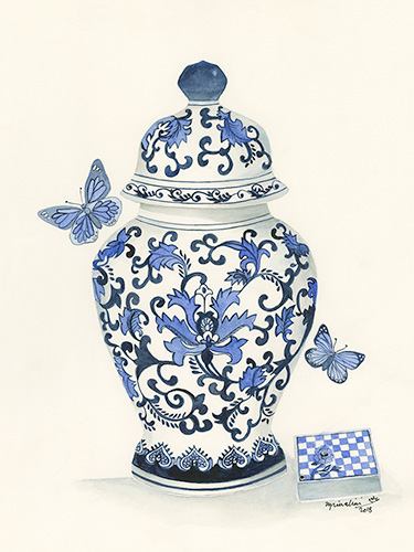 Blue and White Ginger Jar, with Butterflies and Box