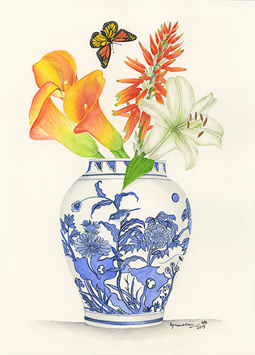 Blue and White Ginger Jar with Orange Calla Lilies and Aloe Vera Flower.