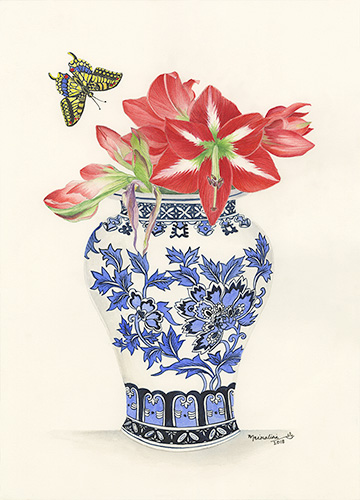 Blue and White Ginger Jar with Red Amaryllis.