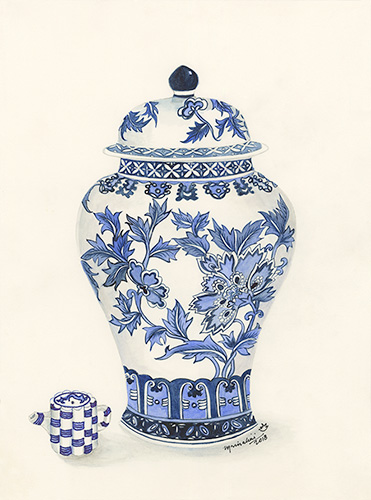 Blue and White Ginger Jar with Small Teapot.