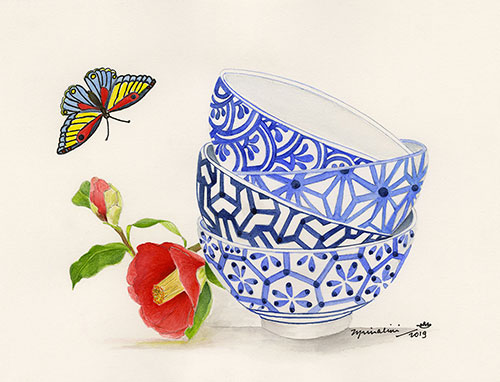Red Camilia and Blue Bowls